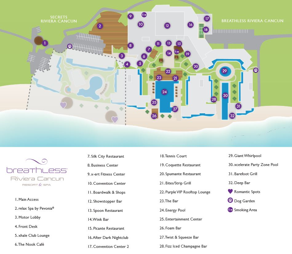 Resort Map | Breathless Riviera Cancun Resort & Spa | Riviera Maya ...
