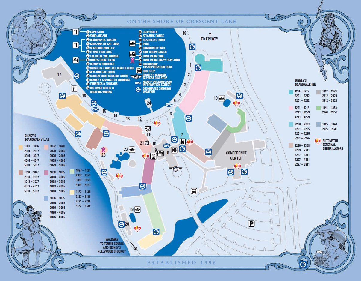 Map Layout Disney's Boardwalk Inn and Villas