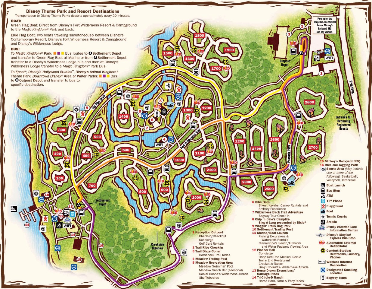 Map Layout Disney's The Cabins at Fort Wilderness Resort