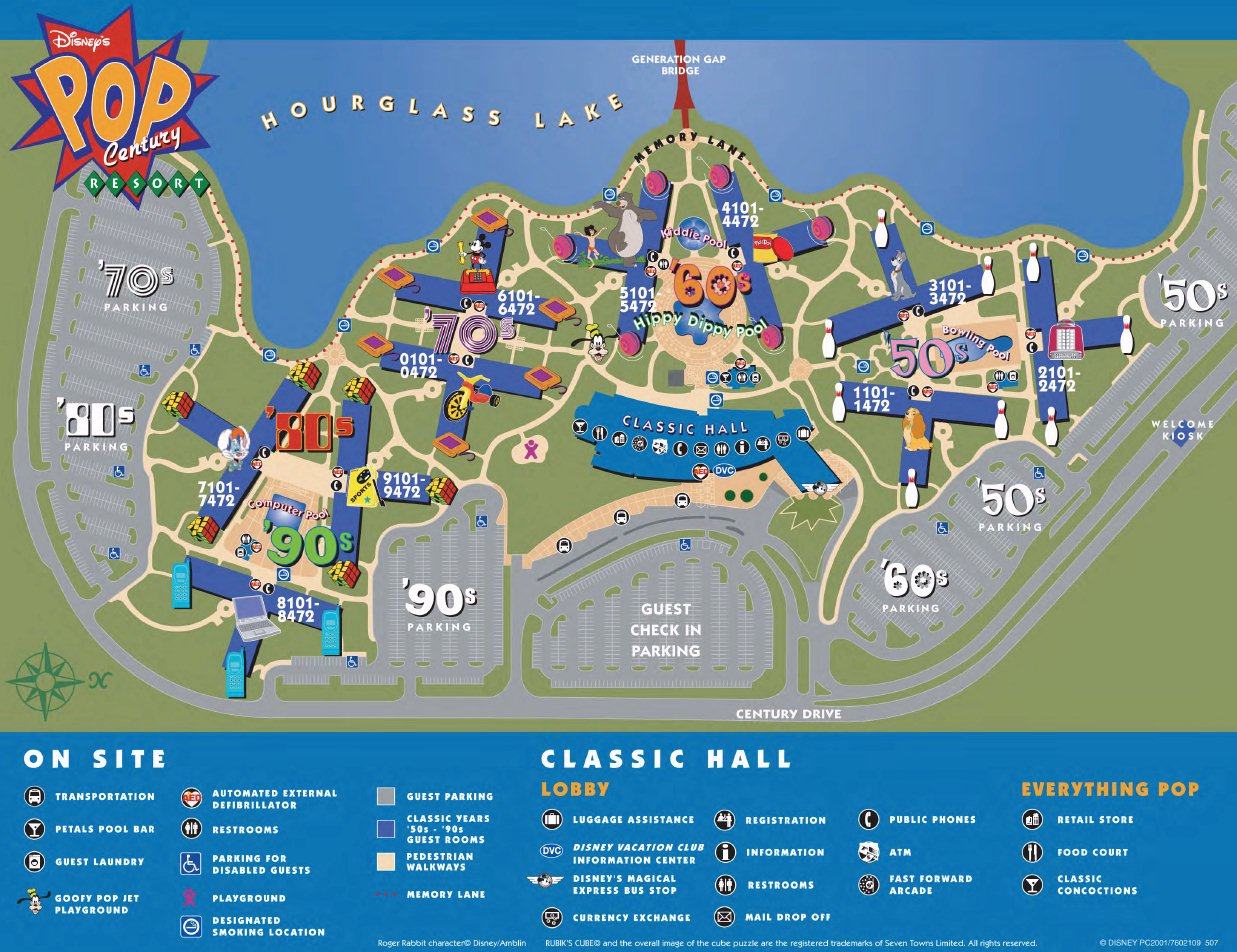 Map Layout Disney's Pop Century Resort