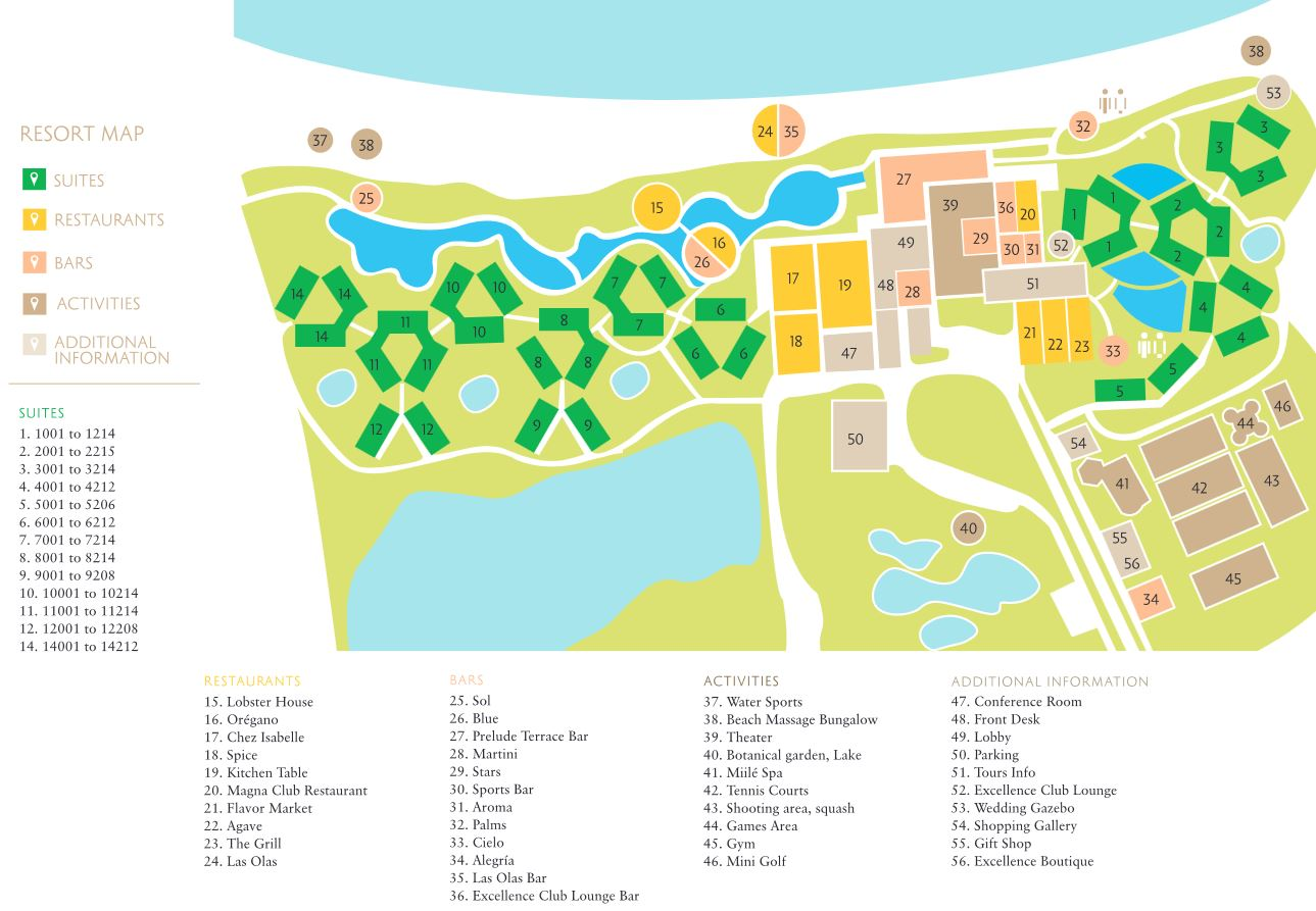 Resort Map Excellence Punta Cana Punta Cana D R