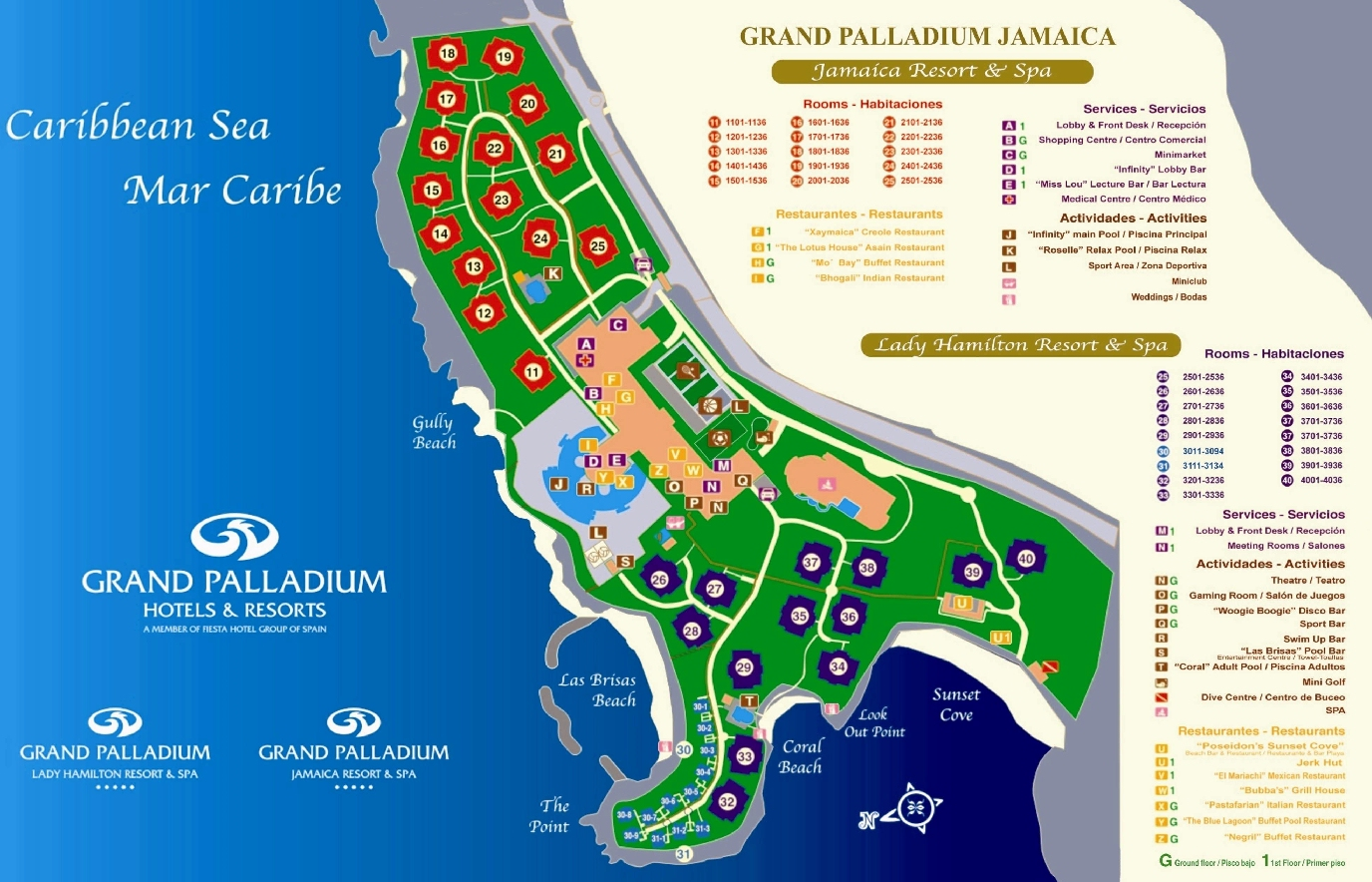 Resort Map Grand Palladium Jamaica Montego Bay Jamaica