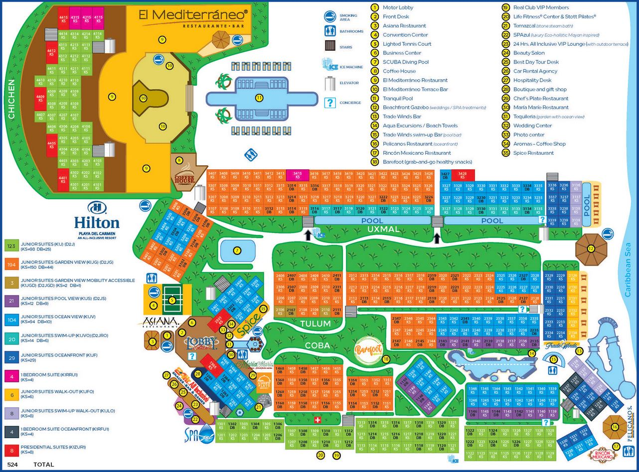 Resort Map Hilton Playa Del Carmen Riviera Maya Mexico
