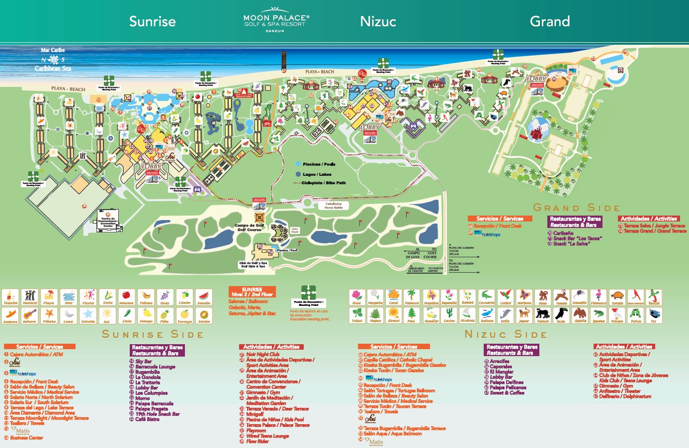 Resort Map | Moon Palace Golf & Spa Resort | Cancun, Mexico on