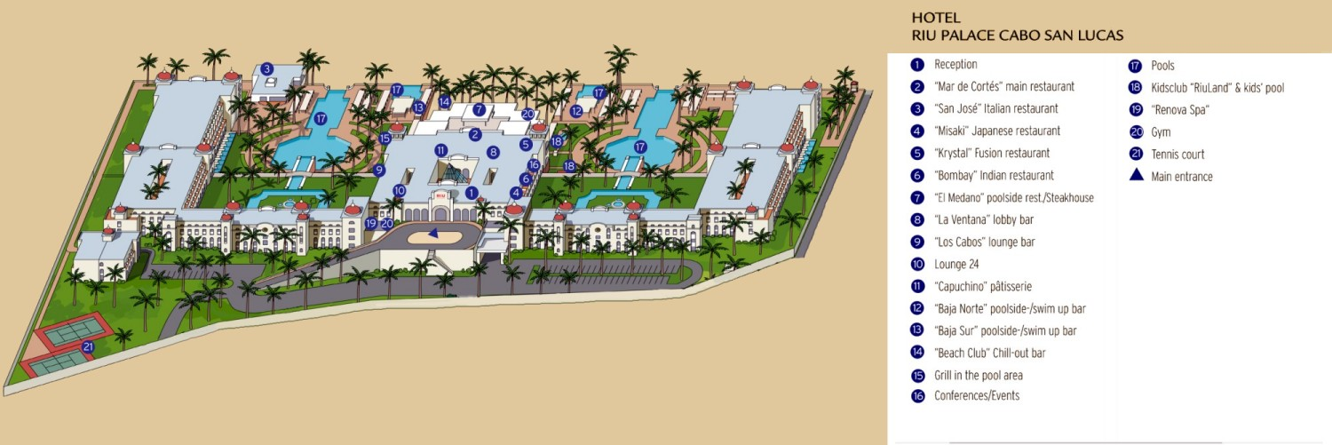 Resort Map | Riu Palace Cabo San Lucas | Los Cabos, Mexico on