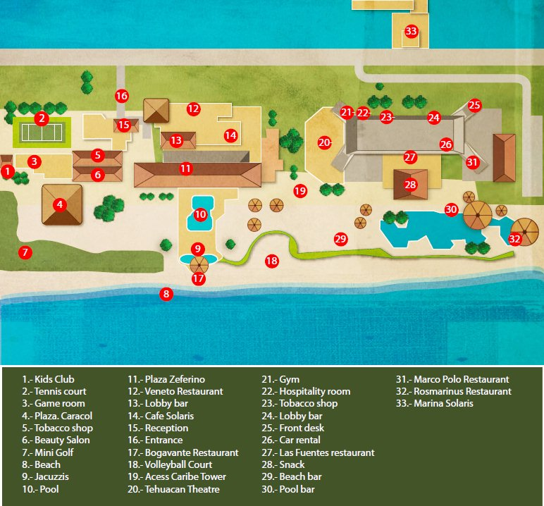 Resort Map | Royal Solaris Cancun | Cancun, Mexico