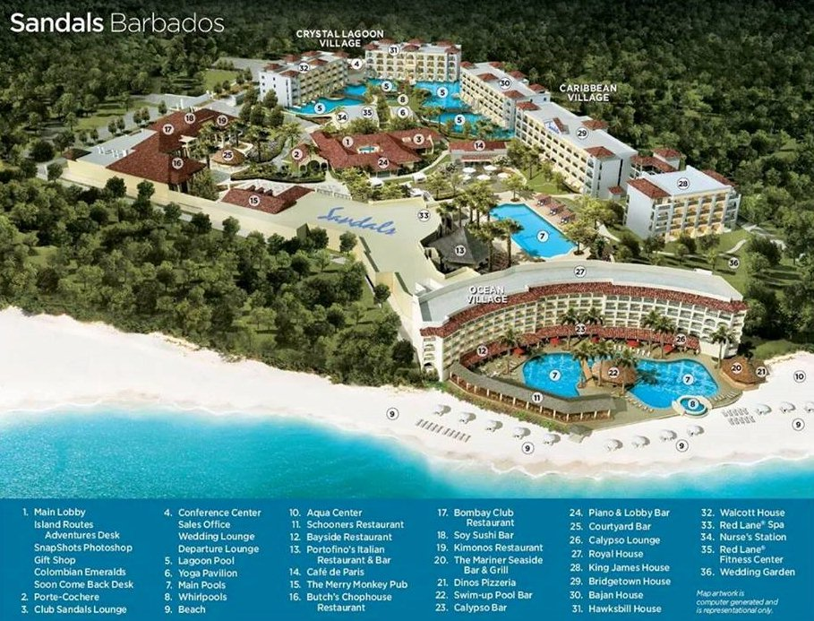 Map Layout Sandals Barbados