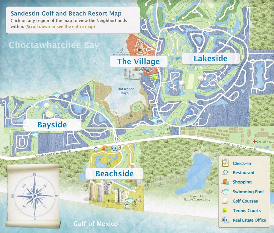 Sandestin Golf And Beach Resort Map Map Layout Sandestin Golf And