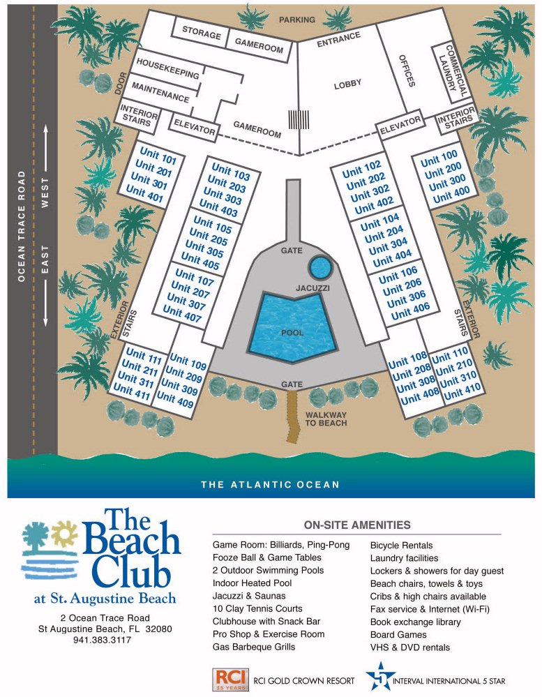 Map Layout The Beach Club at St.Augustine