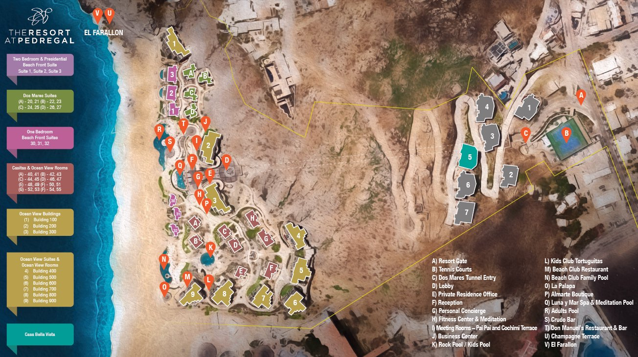 Resort Map   The Resort at Pedregal   Los Cabos, Mexico on