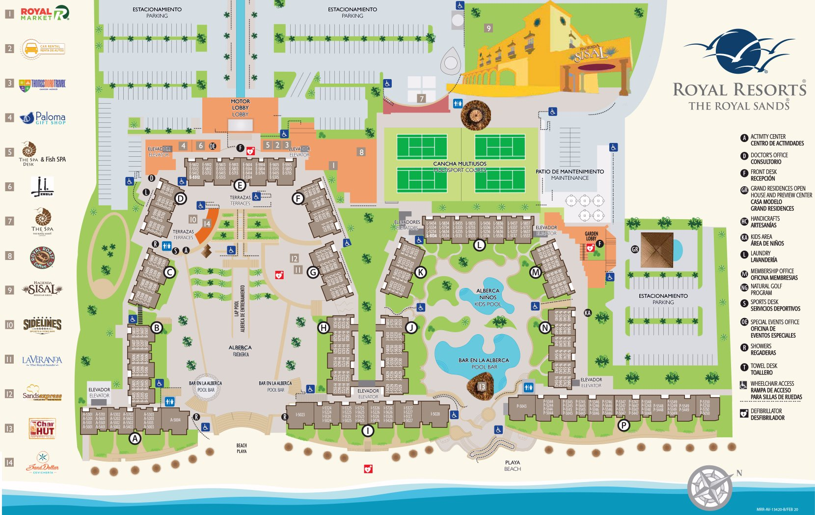 Resort Map The Royal Sands Cancun Mexico