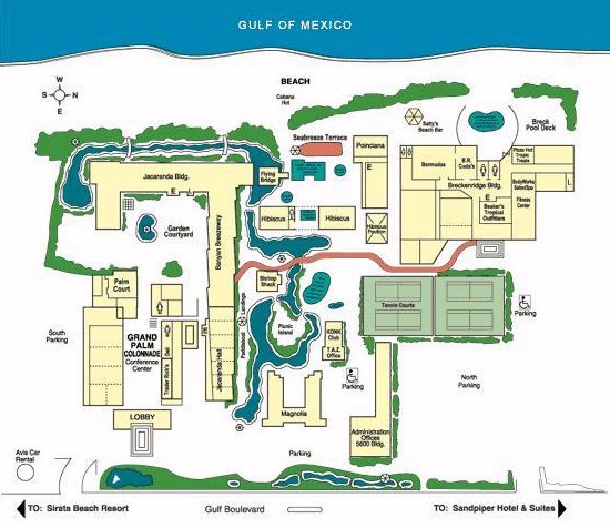 Map Layout TradeWinds Island Grand Beach Resort, St Pete Beach