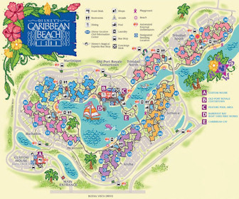 Disney's Caribbean Beach Resort Map Layout