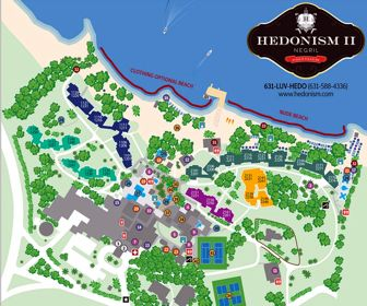 Hedonism II Resort Map Layout