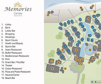 Memories Caribe Beach Resort Resort Map Layout