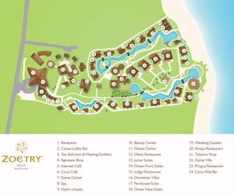 Zoetry Agua Punta Cana Resort Map Layout