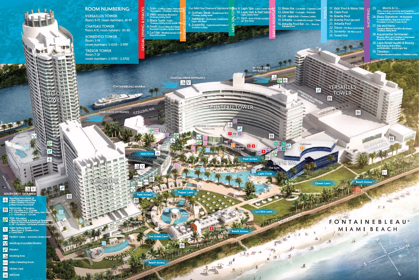 resort map | fontainebleau miami beach | florida