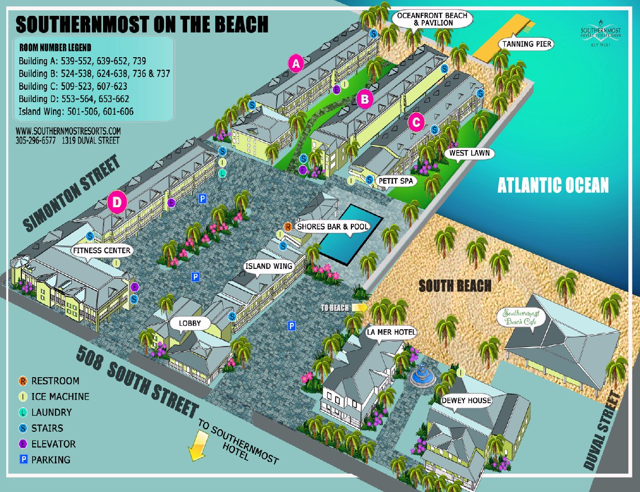 Resort Map Southernmost On The Beach Florida